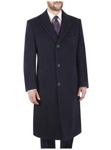 35b7e3a4f5 Navy Single Breasted Long Overcoat