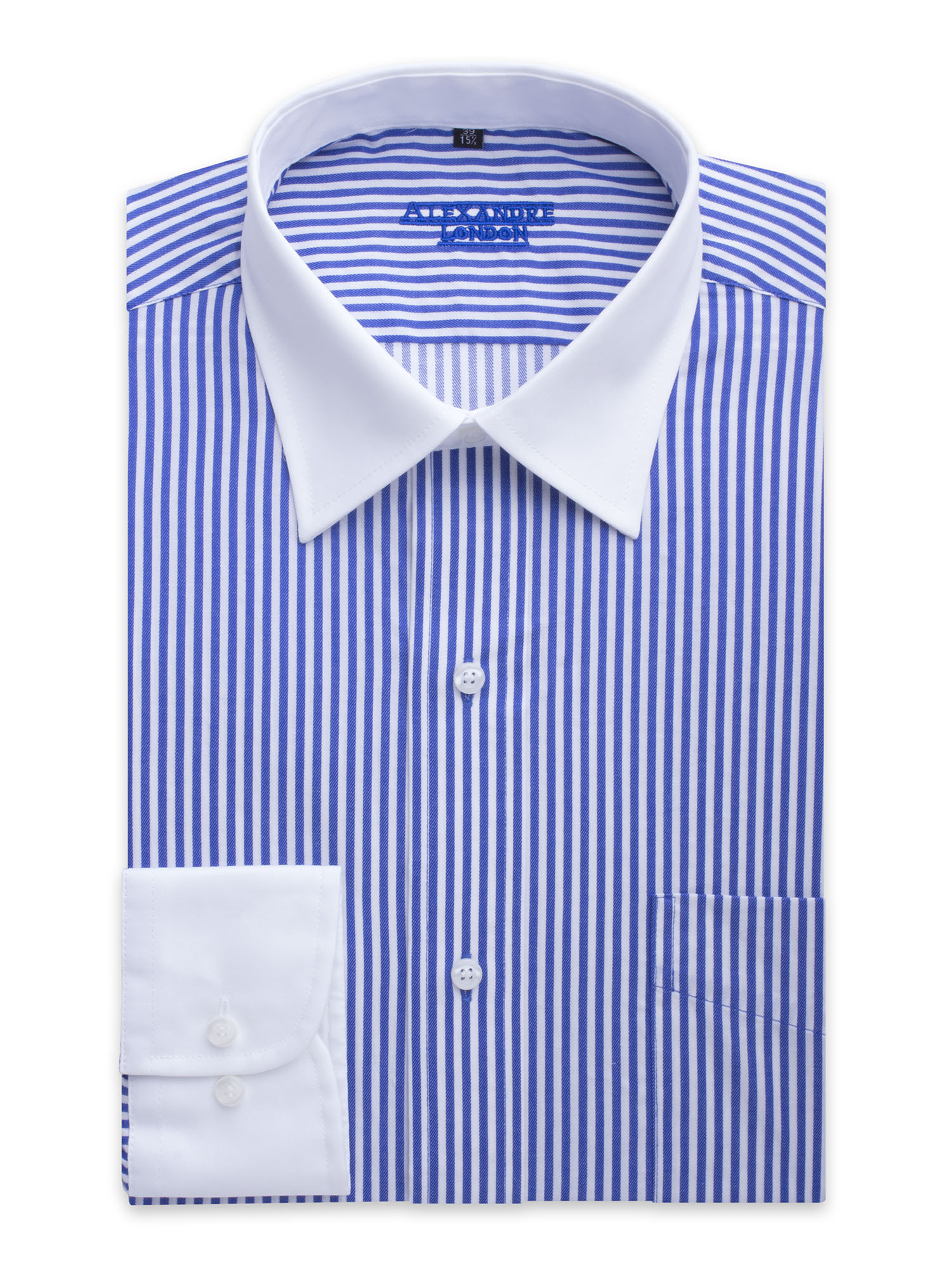 Mens blue and white stripe cotton shirt with white collar for Blue and white striped shirt with white collar