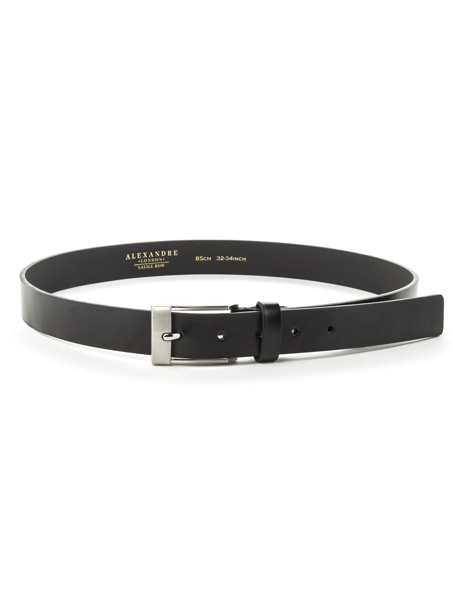 771305a146 MENS PLAIN BLACK LEATHER BELT WITH SILVER COLOURED BUCKLE