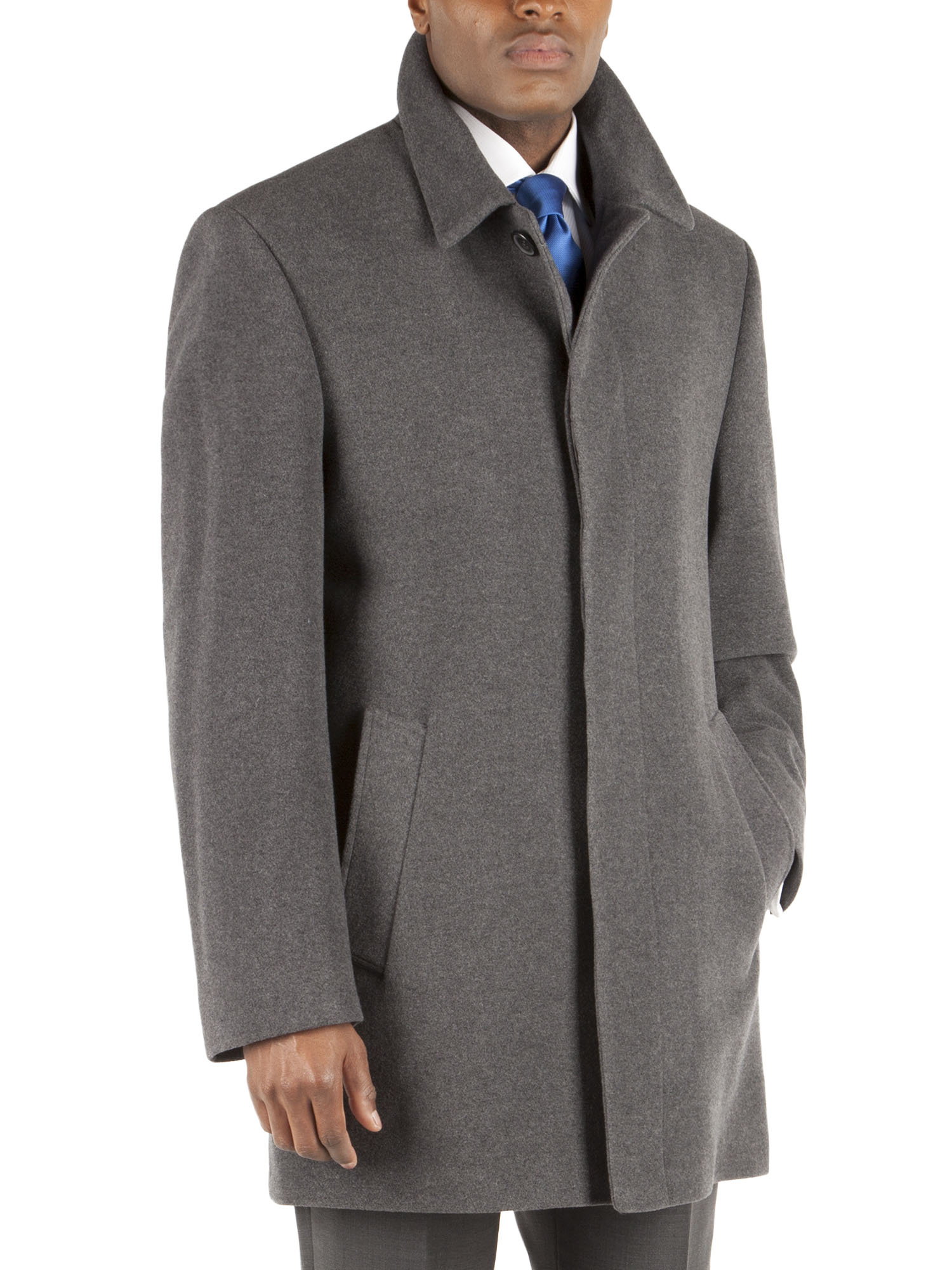 MENS MID GREY WOOL CASHMERE CAR COAT- currently unavailable