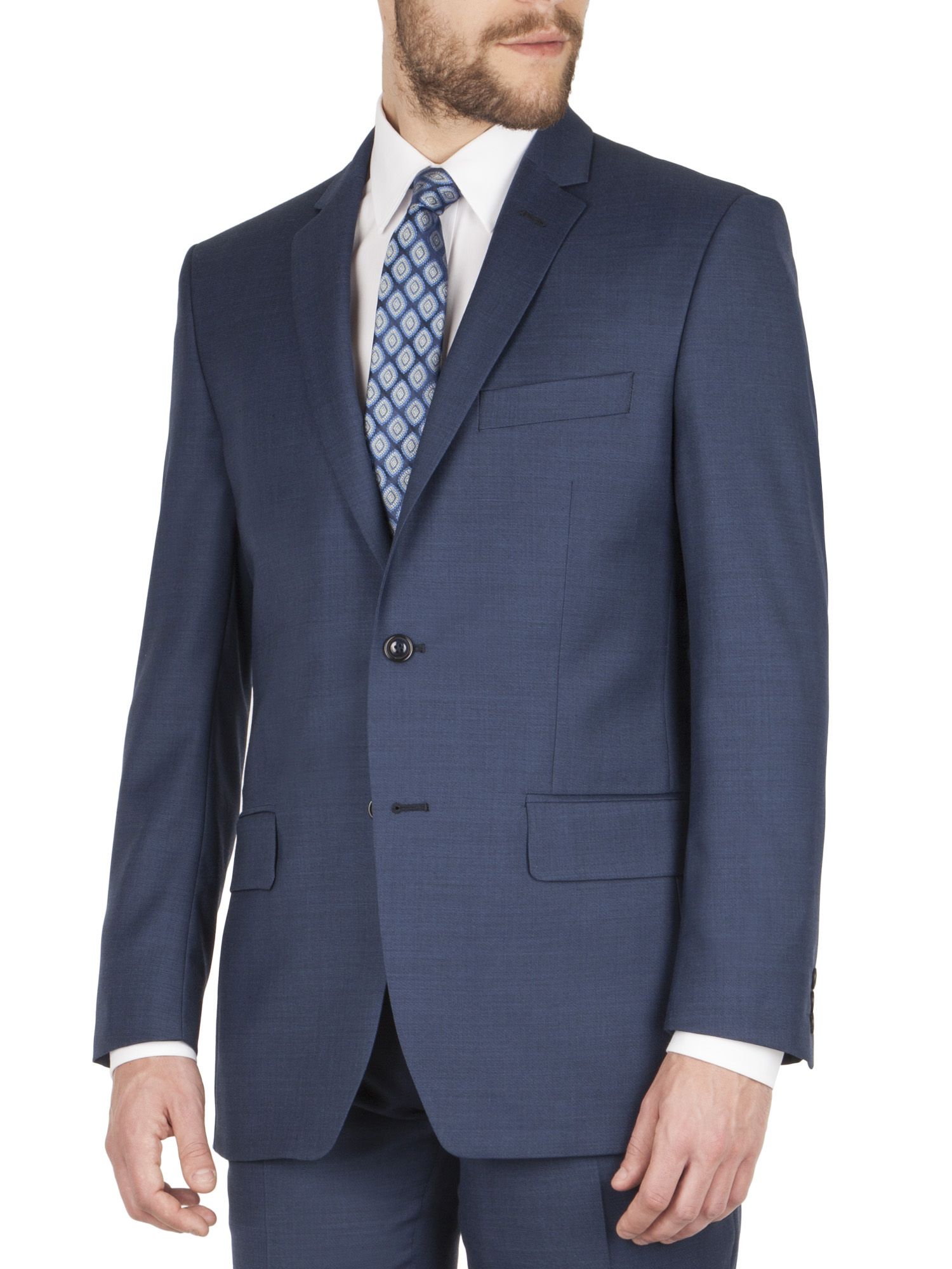 Dark Blue Sharkskin Regular Fit Suit