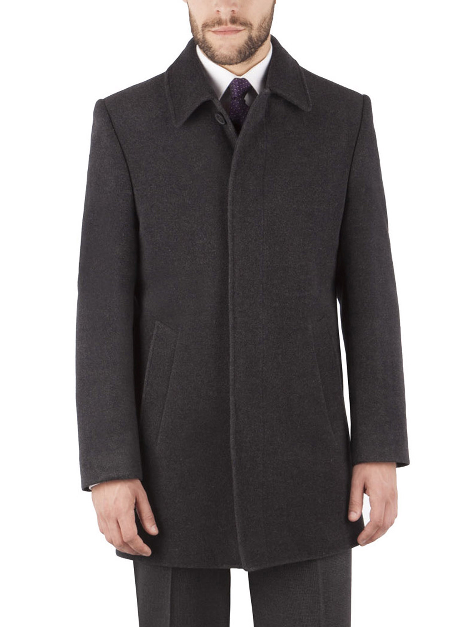 Plain Charcoal Grey Car Coat - Overcoats - Alexandre London